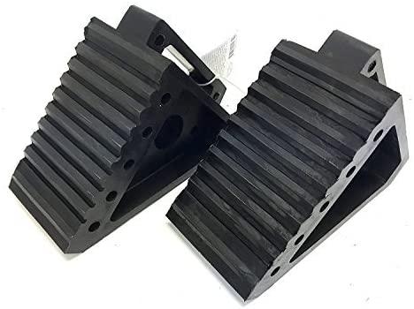 "MaxxHaul 2 pack 70472 Solid Rubber Heavy Duty Black Wheel Chock, 8"" Long x 4"" Wide x 6"" high-2 Pack"
