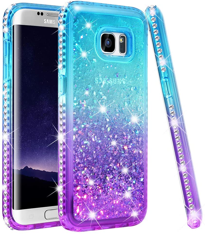 Ruky Samsung Galaxy S7 Edge Case, Colorful Quicksand Series Diamond Sparkly Glitter Flowing Liquid Floating Soft TPU Women Girls Case for Samsung Galaxy S7 Edge (Teal Purple)