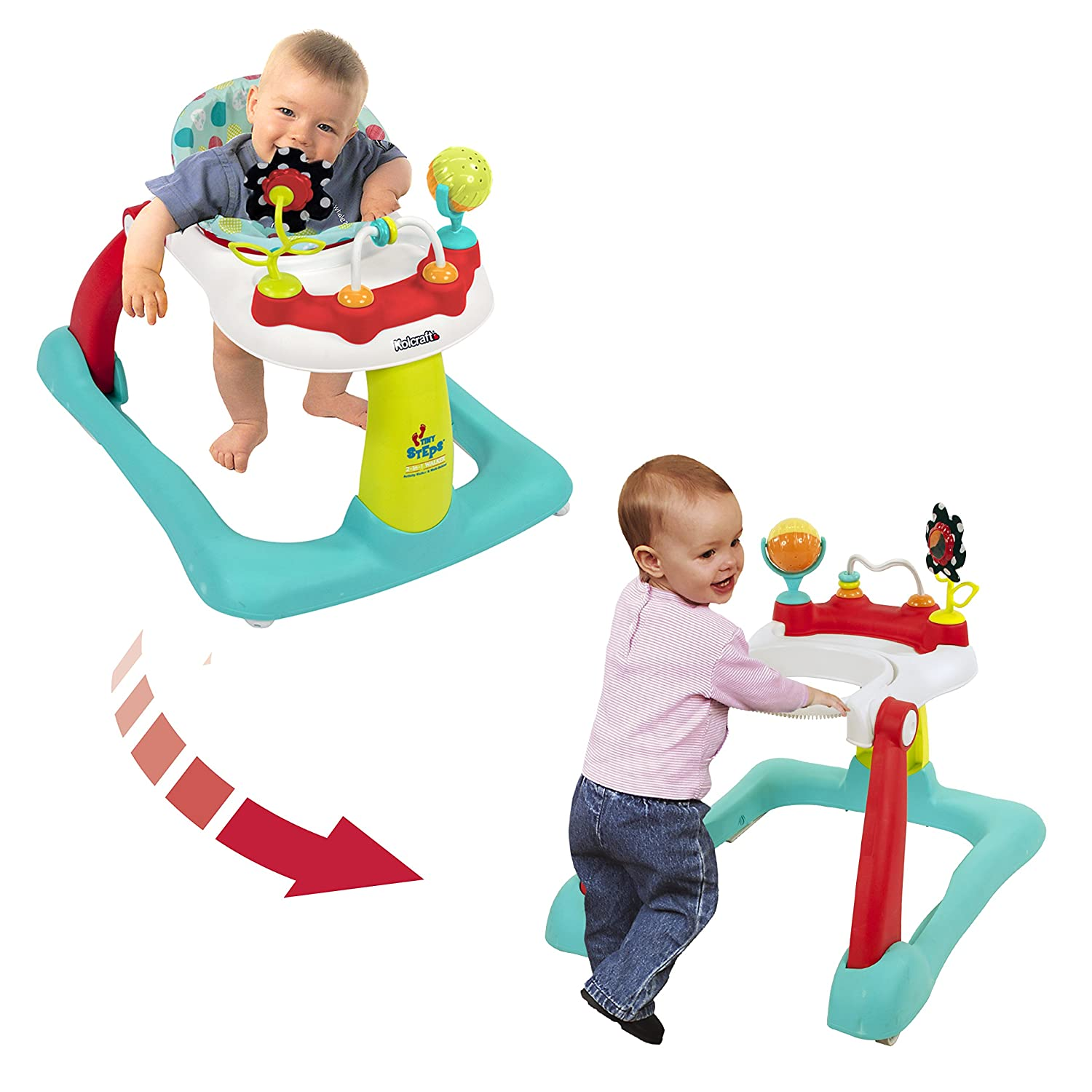 Kolcraft Tiny Steps 2-in-1 Infant & Baby Activity Walker