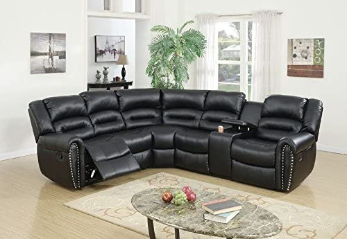 Poundex Tamanna Leather Reclining Sectional Sofa