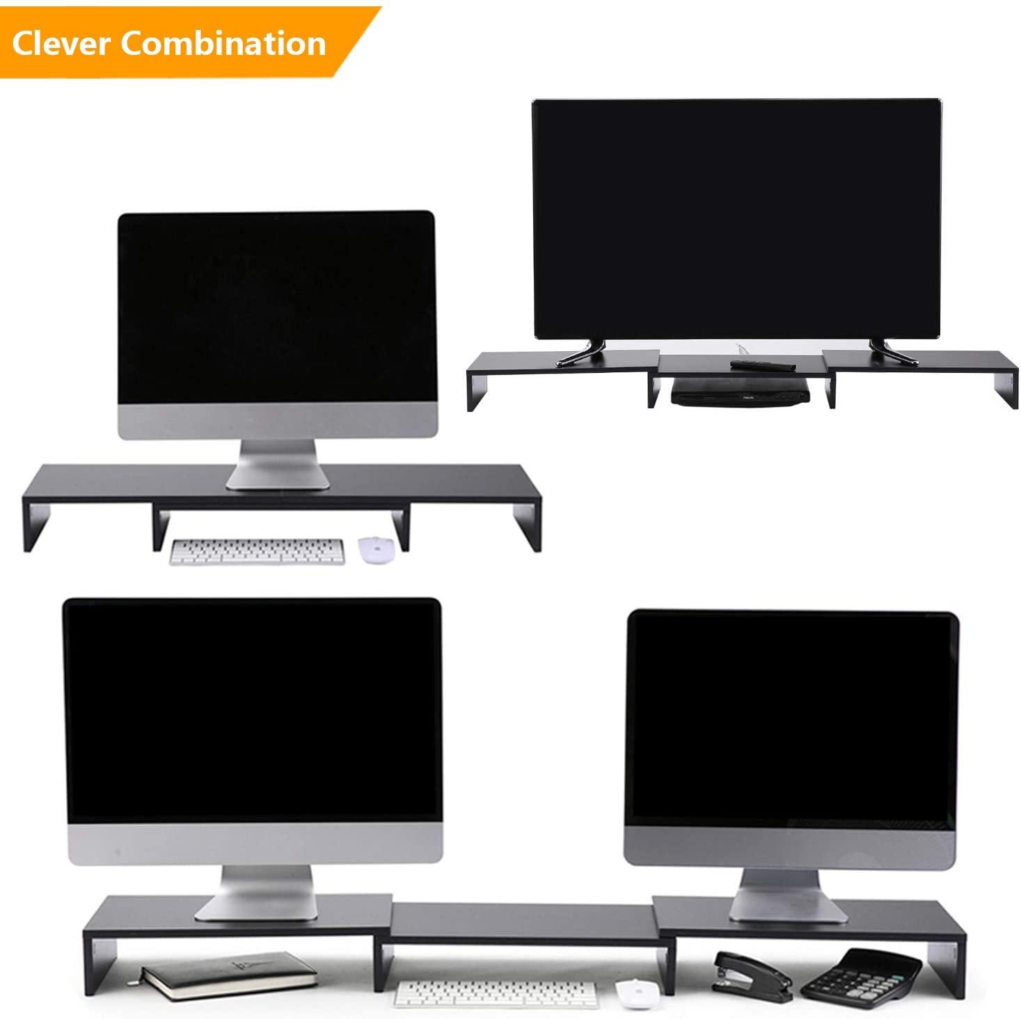 5Rcom Dual Monitor Stand 3 Shelves Desk Riser