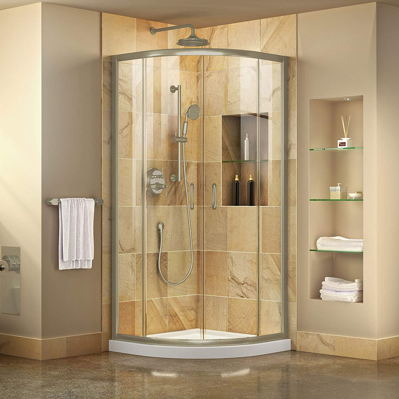 DreamLine Prime 33 in. X 74 3/4 in. Semi-Frameless Clear Glass Sliding Shower Enclosure