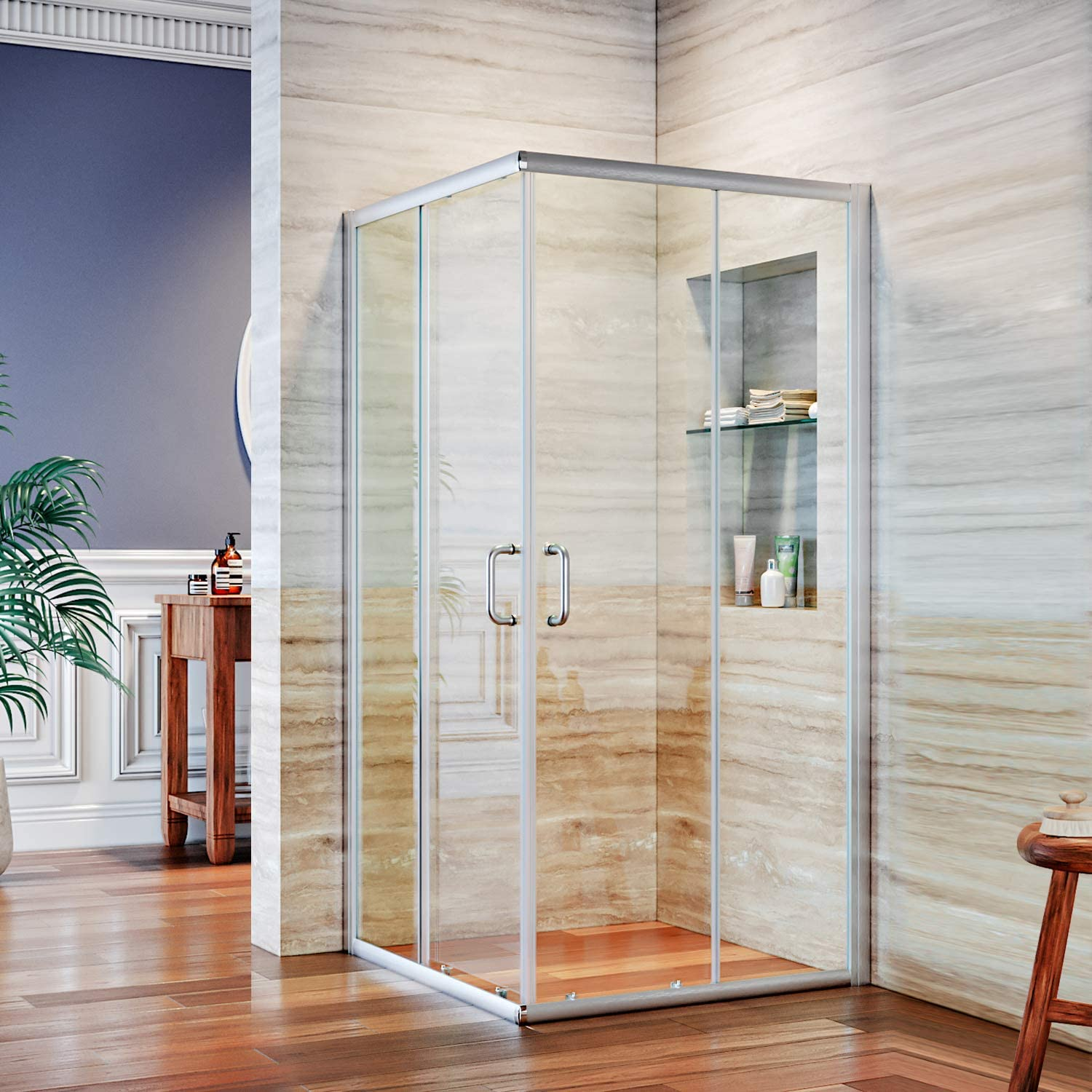 ELEGANT 36 in. D. x 36 in. W. x 72 in. H. 2 Opening Sliding Shower Enclosure