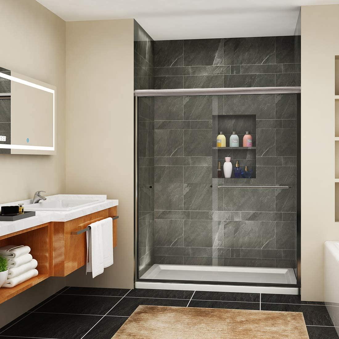 SUNNY SHOWER Frameless Shower Enclosure Clear Glass