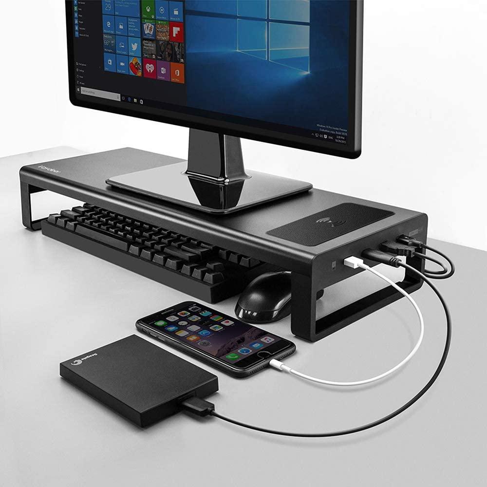 Vaydeer USB3.0 Wireless Charging Aluminum Monitor Stand Riser