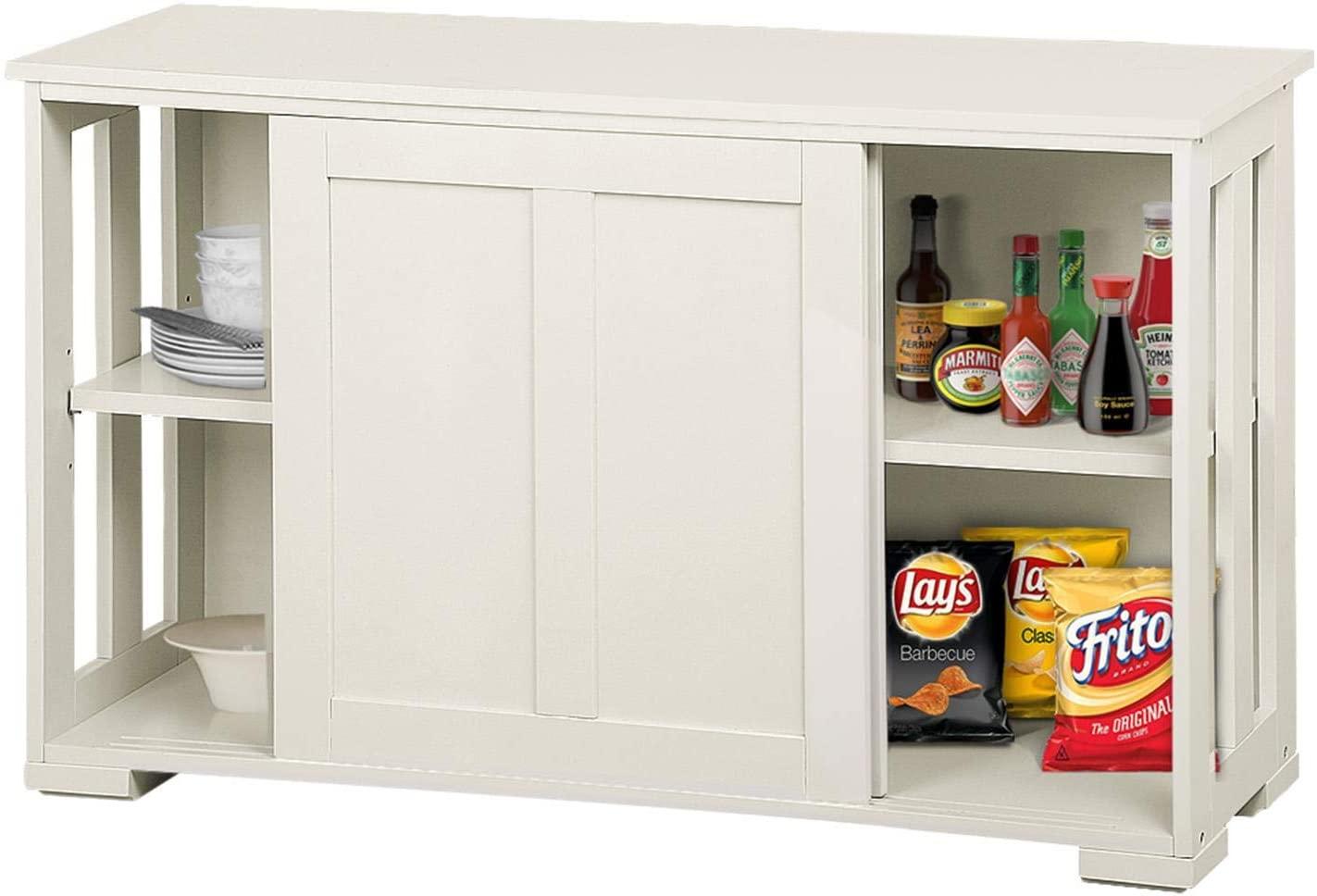 YAHEETECH Antique White Kitchen Storage Sideboard