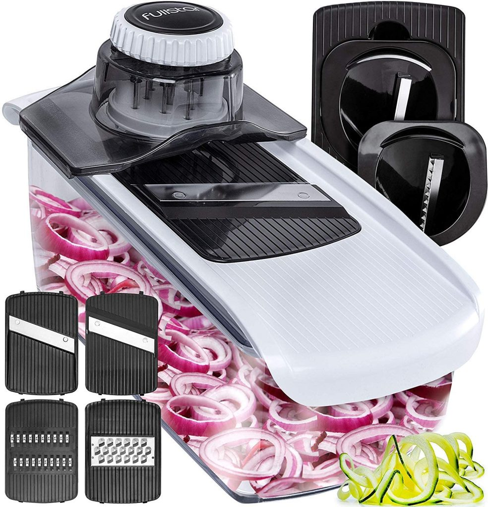 Fullstar Mandoline Slicer Spiralizer Vegetable Slicer - Cheese Slicer Food Slicer 6-in-1 Vegetable Spiralizer Potato Slicer Zoodle Maker BPA-Free Veggie Spiralizer Slicers for Fruits and Vegetables