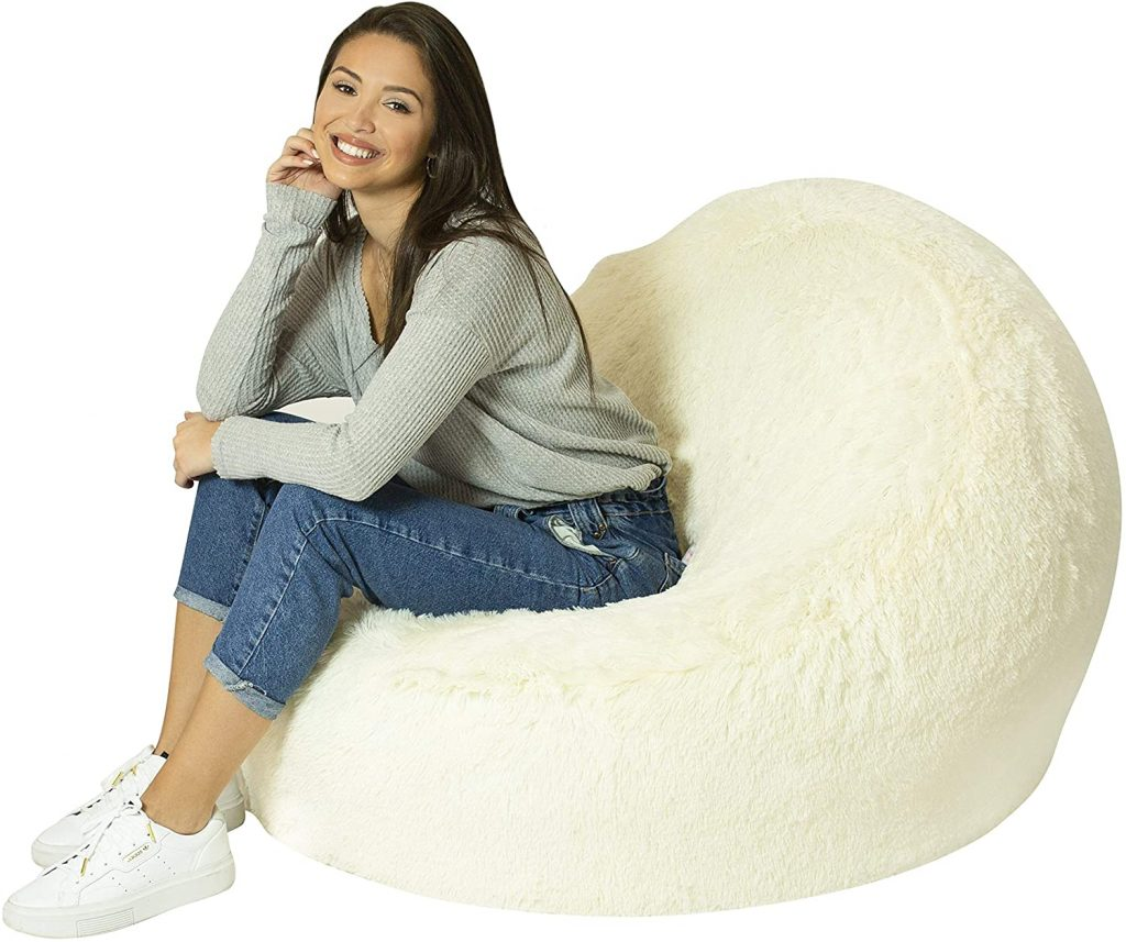 Air Candy Inflatable White Mongolian Faux Fur Chair