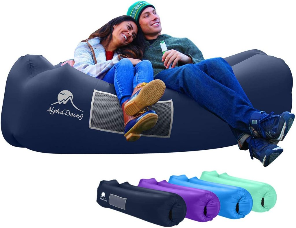 AlphaBeing Inflatable Lounger Camping, Hiking - Ideal Inflatable Couch for Pool and Beach Parties - Perfect Air Chair for Picnics or Festivals