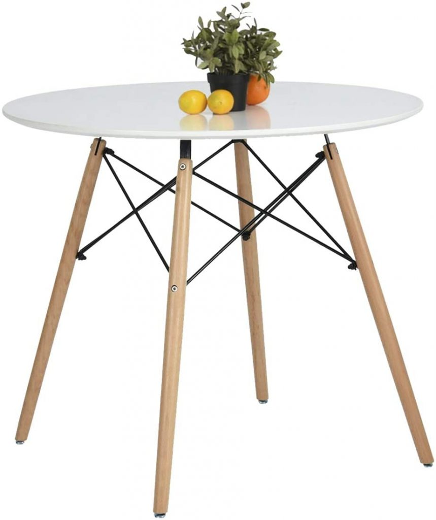 Coavas Kitchen Dining Table White Leisure Wooden Tea Table Office Conference Pedestal Desk