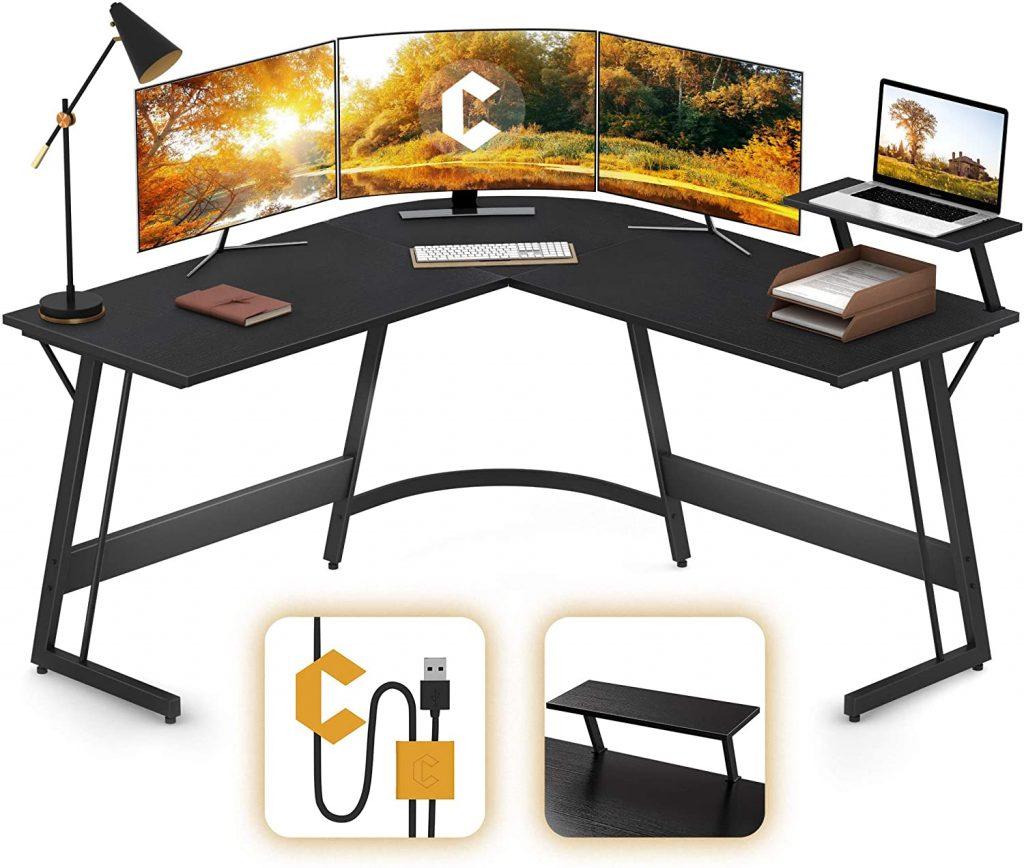 Cubiker Modern L-Shaped Desk Gaming Corner Desk Writing Desk for Home Office Wood & Metal, Black