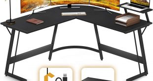 Cubiker Modern L-Shaped Desk Gaming Corner Desk Writing Desk for Home Office Wood & Metal, Black