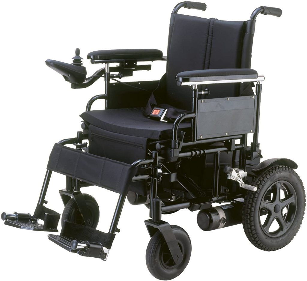 """Drive Medical Folding Power Wheelchair with Footrest and Batteries, Black, 16"""""""