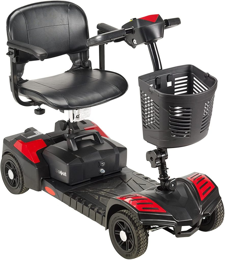 Drive Medical SFSCOUT4 Spitfire Scout 4 Compact Travel Scooter, 4-Wheel, Red/Blue