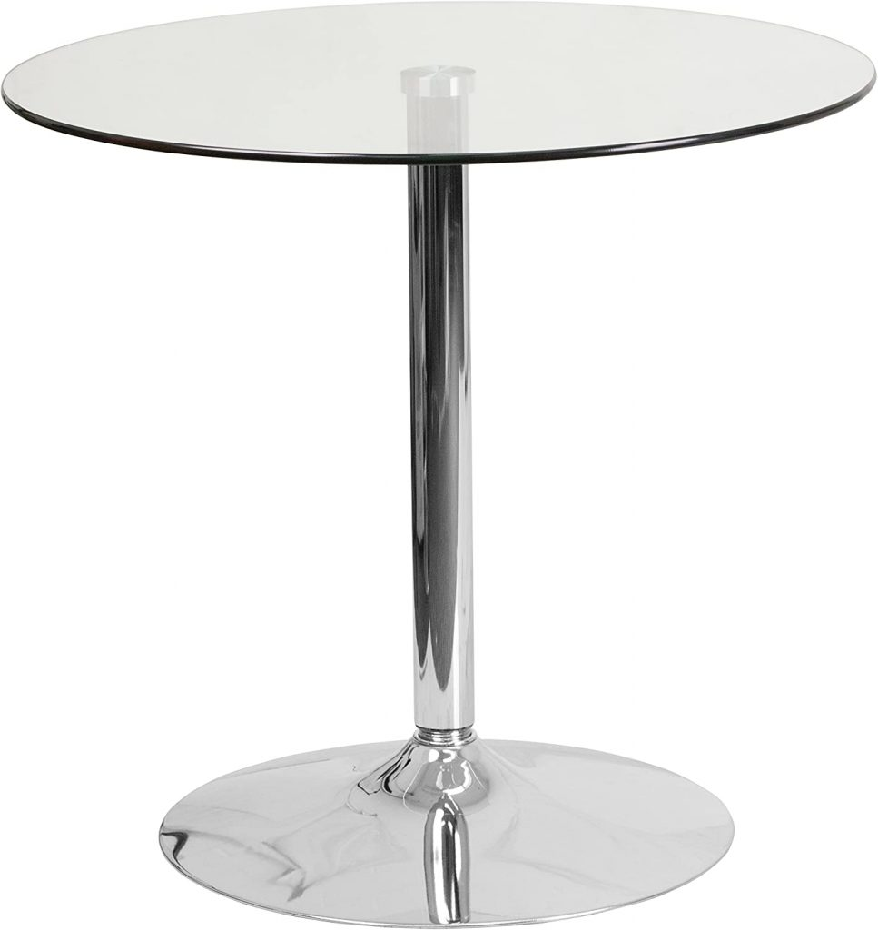 Flash Furniture Round Glass Table with 29''H Chrome Base