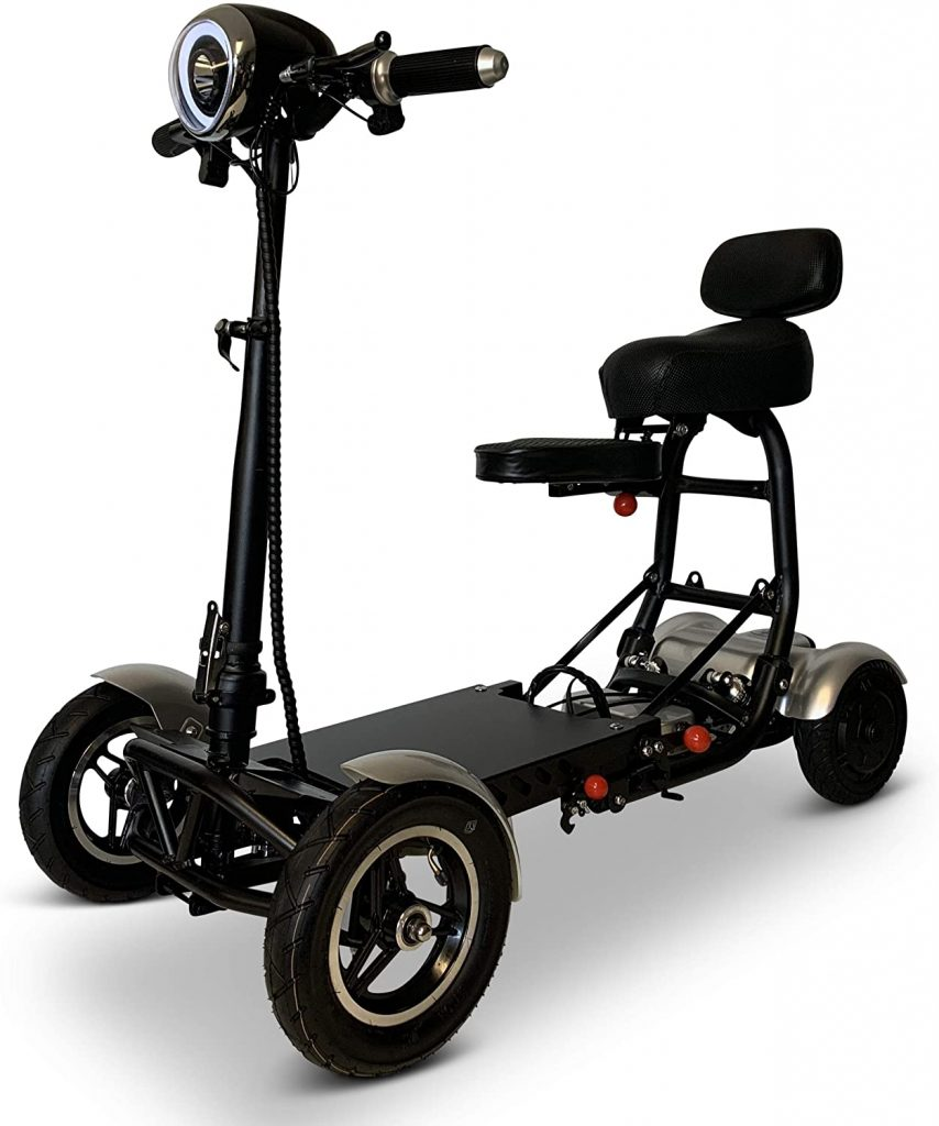 Fold and Travel Mobility 4 Wheel Long Range Mobility Scooter Electric Wheelchair Power (Silver)