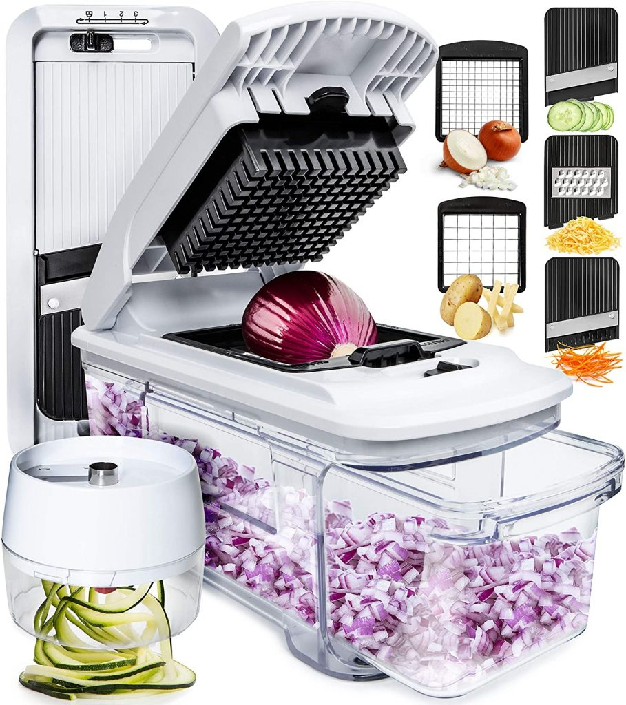 Fullstar Mandoline Slicer Spiralizer Vegetable Slicer - Food Chopper Vegetable Spiralizer Mandoline Slicer Cutter Chopper and Grater Slicer Zucchini Spaghetti Maker