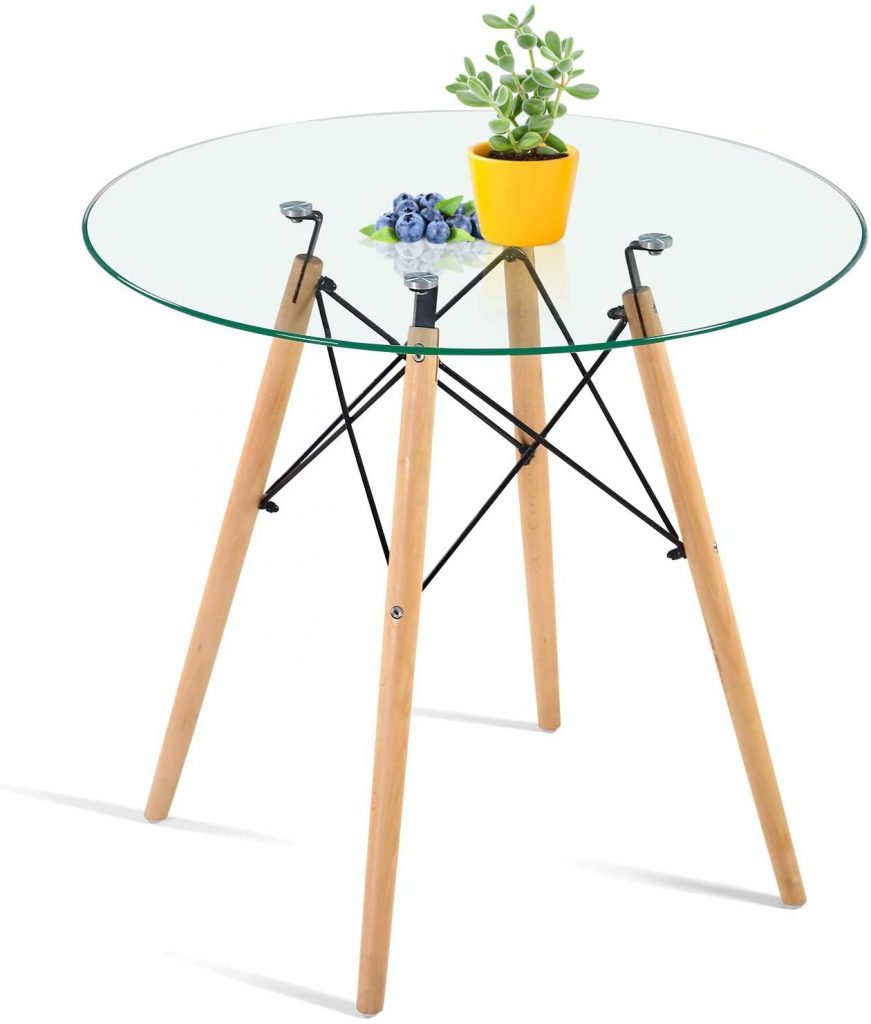 HAYOSNFO Round Dining Table with Glass Top Modern Leisure Table with Wood Legs, Coffee Table for Kitchen Dining Room & Living Room