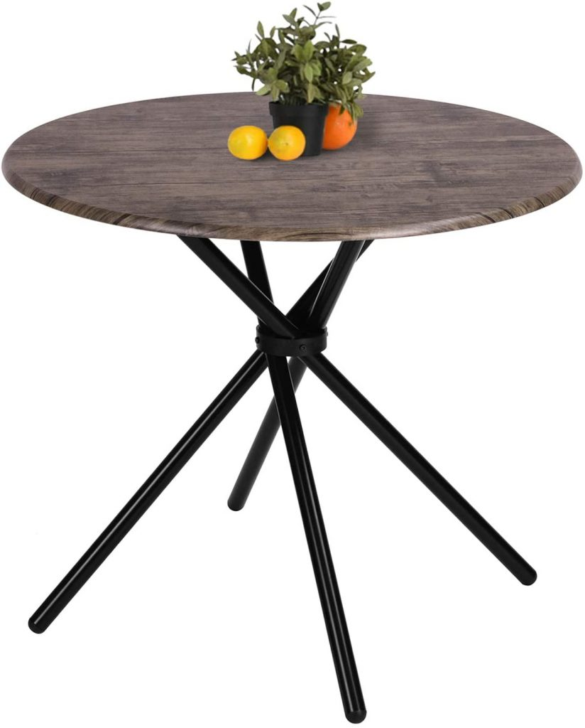 Kitchen Dining Table Round Mid-Century Vintage Living Room Table Coffee Easy-Assembly 31.4x31.4x29.5 Inches