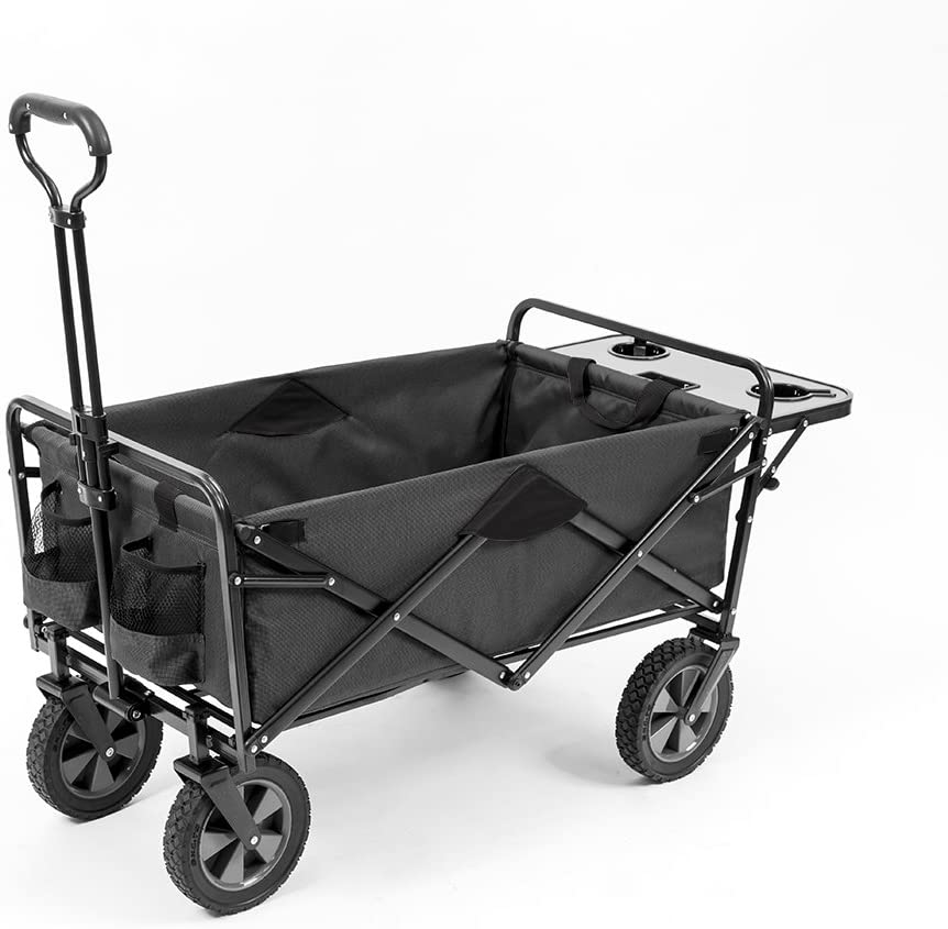 Mac Sports Collapsible Outdoor Utility Wagon with Folding Table and Drink Holders, Gray