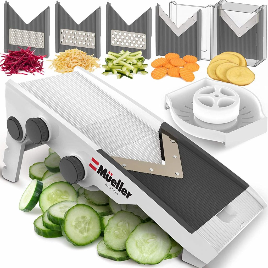 Mueller Austria Premium Quality V-Pro Multi Blade Cheese/Vegetable Slicer, Cutter, Shredder with Precise Maximum Adjustability