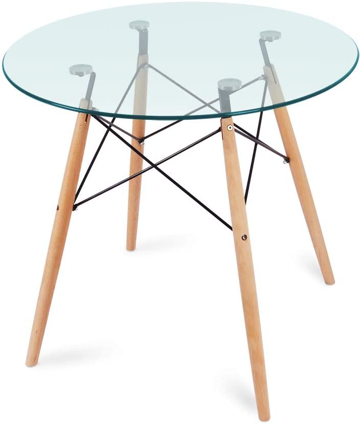 Nidouillet Round Glass Dining Table, Beech Wood Legs for Kitchen Living Room AB053