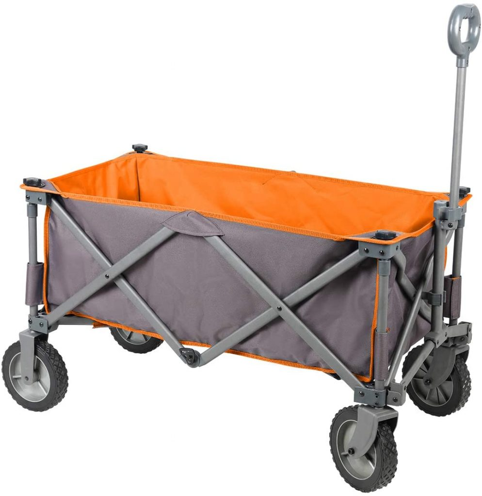 PORTAL Collapsible Folding Utility Wagon Quad Compact Camping Cart Removable Fabric, Grey