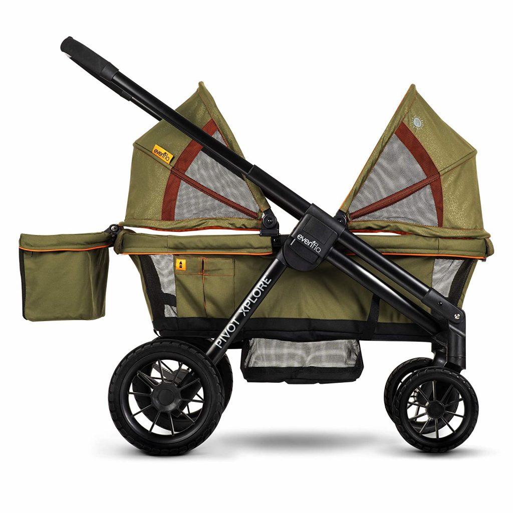 Pivot Xplore Double Stroller Wagon, All-Terrain, Gypsy Olive Green