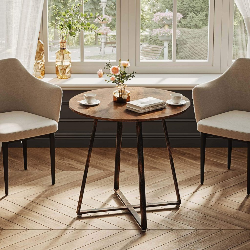 Rolanstar Dining Table Rustic Round Table Living Room Coffee Table Bistro Table for Cafe/Bar RT001-A