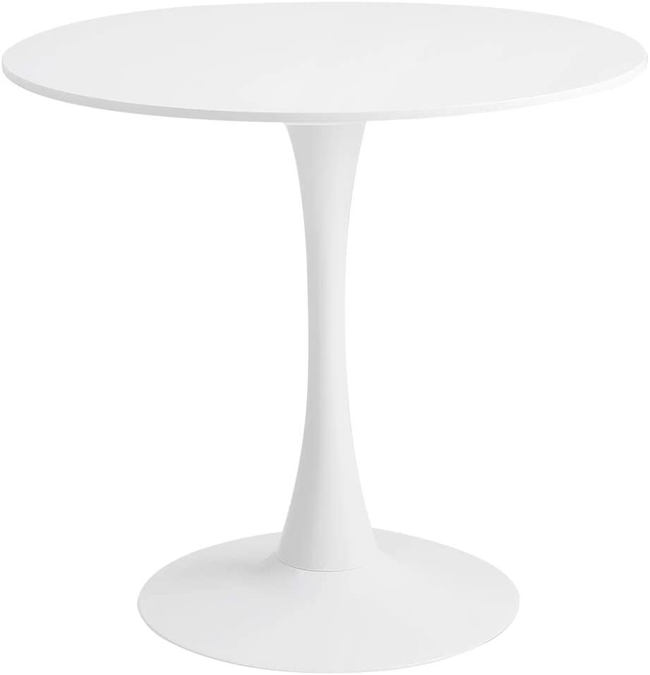 Roomnhome Blanc Round Sturdy décor Table Iron Frame and 0.7'' Thickness MDF top, self-Assembly Home and Kitchen 28.7'' Height Table
