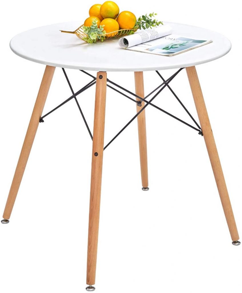 Round Dining Table White Pedestal Tables Eiffel Mid-Century Modern Style