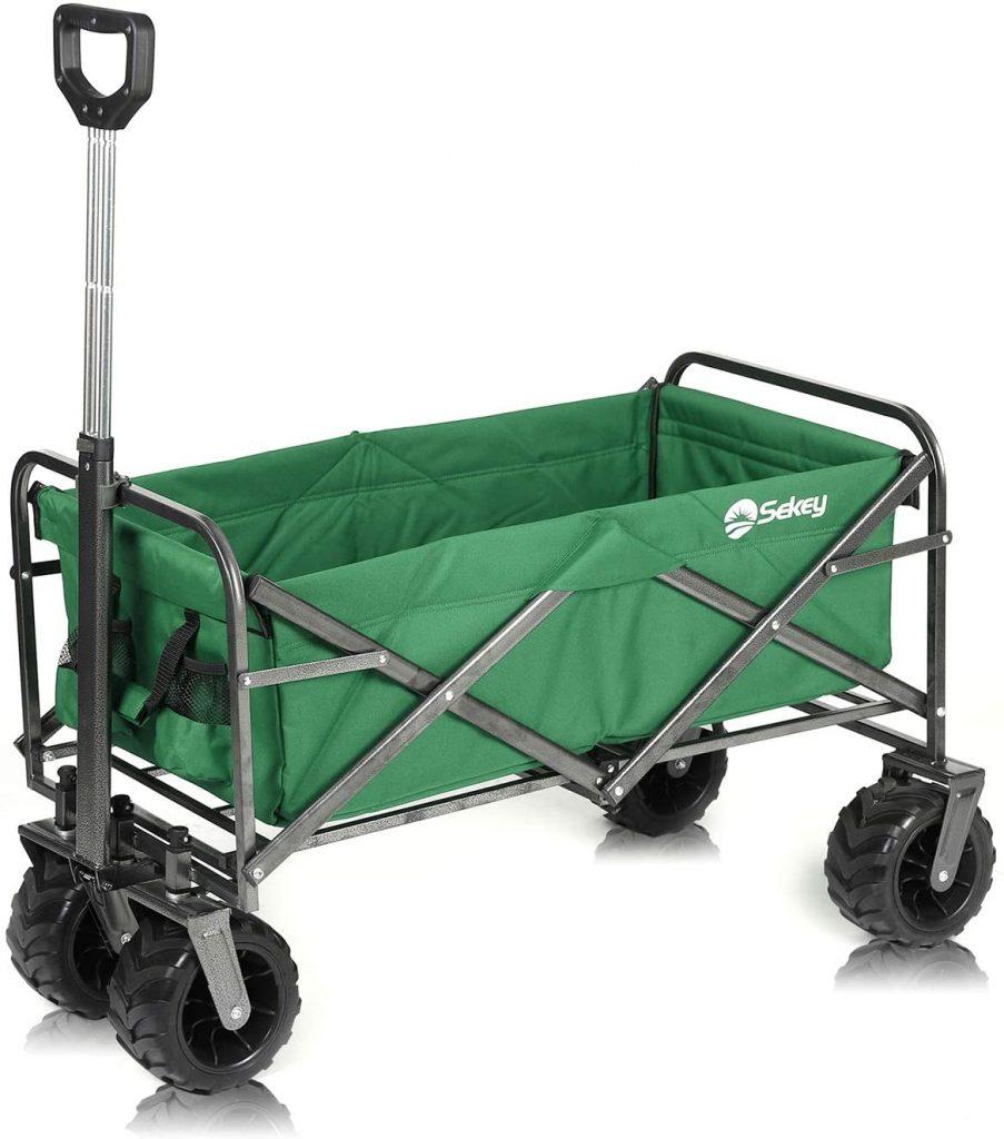 Sekey Folding Wagon Cart Collapsible Outdoor Utility Wagon Garden Shopping Cart Beach Wagon with All-Terrain Wheels, 176 Pound Capacity, Green