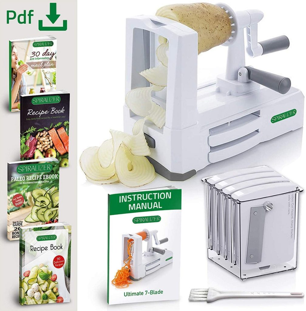 Spiralizer 7-Blade Vegetable Slicer, Strongest-and-Heaviest Spiral Slicer, Best Veggie Pasta Spaghetti Maker Comes with 4 Recipe Ebooks