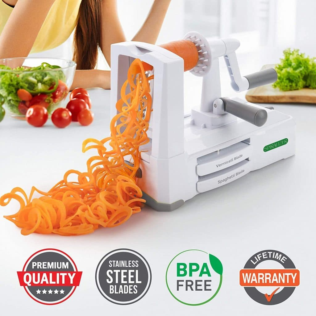 Spiralizer Ultimate 10 Strongest-and-Heaviest Slicer Best Veggie Pasta Spaghetti Maker with Extra Blade Caddy & 4 Recipe Color White