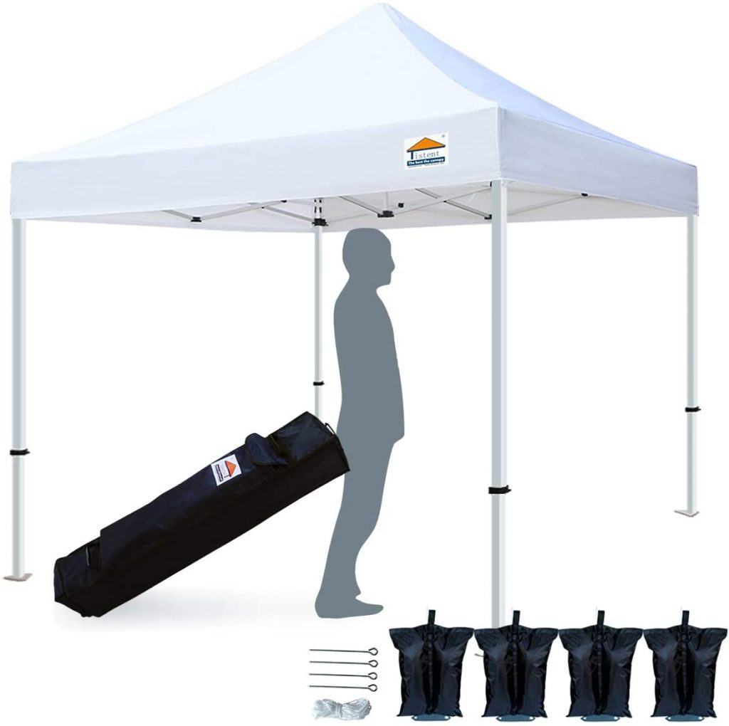 TISTENT 10'x10' Ez Pop Up Canopy Tent Commercial Instant Shelter with Heavy Duty Carrying Bag, 4 Canopy Sand Bags White