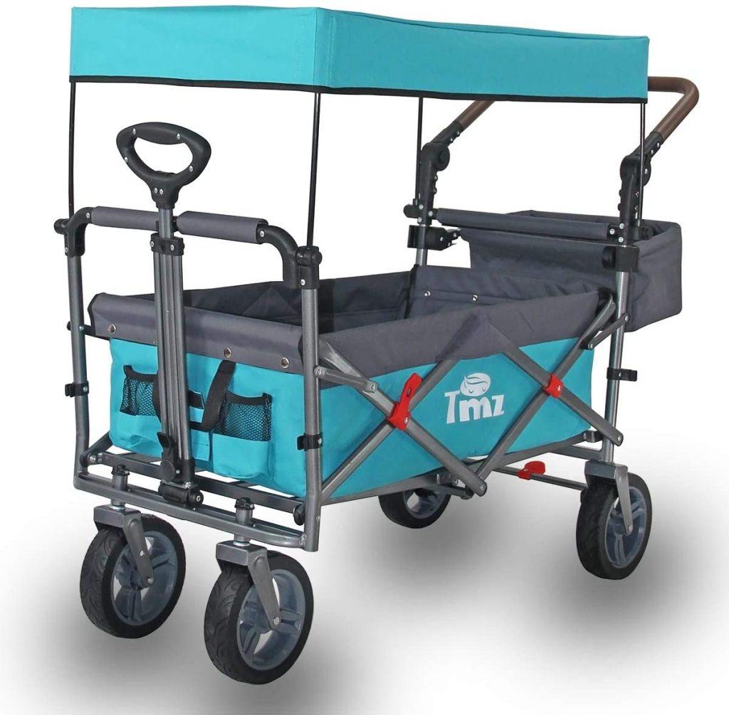 TMZ Utility Folding Beach Wagon with Removable Canopy, Heavy Duty Portable Trolley with All-Terrain Silent Wheels 102 L Storage, Maximum 150kgs