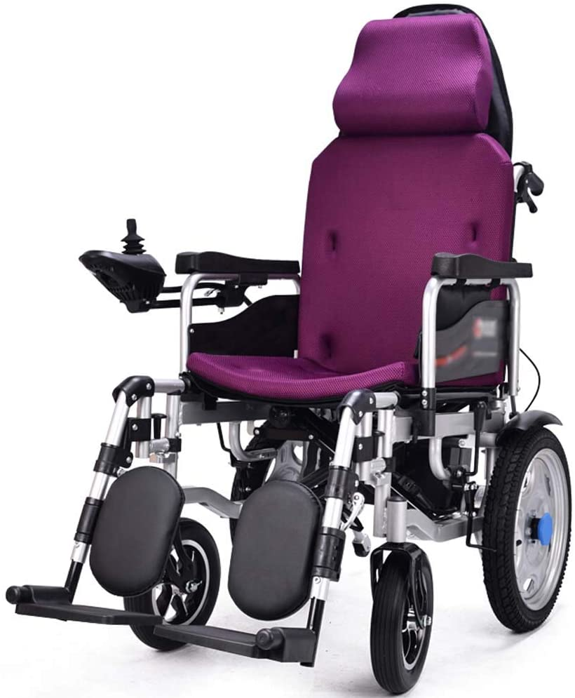 WPOSD Folding Electric Wheelchair with Headrest, Dual Function Elderly Disabled Intelligent Automatic Scooter Power or Use as Manual Wheelchair