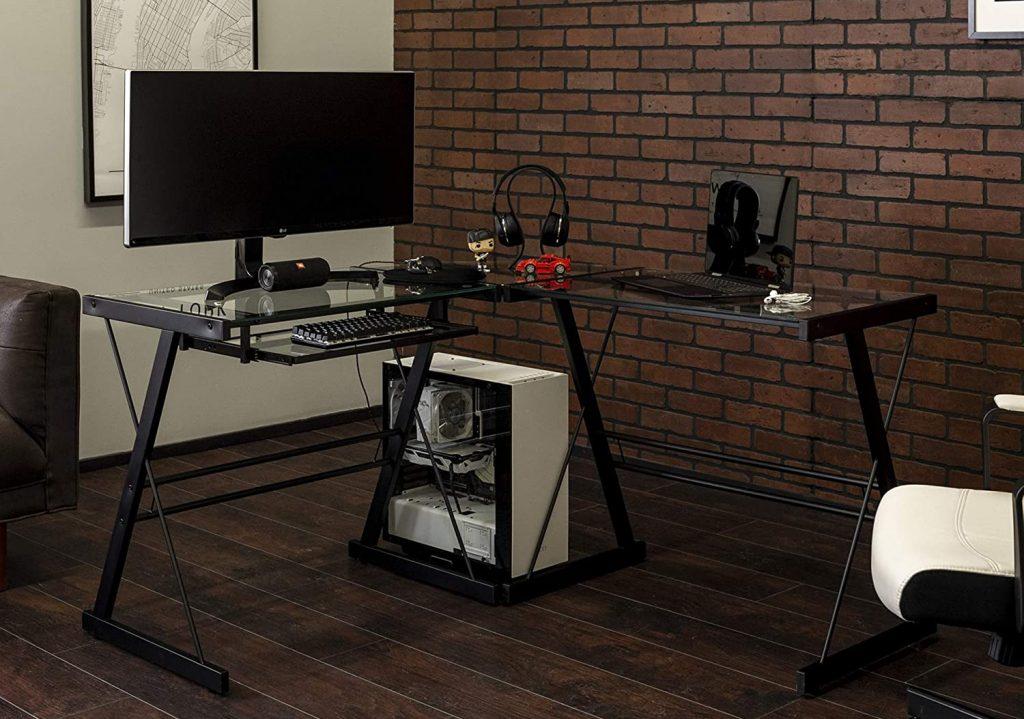 Walker Edison Furniture Company Modern Corner desks Computer Writing Gaming Gamer Command Center Workstation Desk Home Office, Single, Black
