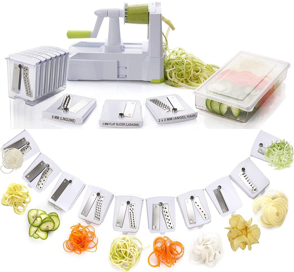 Brieftons 10-Blade Spiralizer: Strongest-and-Heaviest Vegetable Spiral Slicer, Best Veggie Pasta Spaghetti Maker, Container, Lid & 4 Recipe Ebooks
