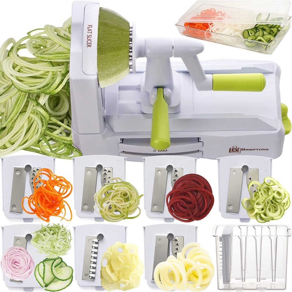 Brieftons 7-Blade Spiralizer: Strongest-and-Heaviest Duty Vegetable Spiral Slicer, Best Veggie Pasta Spaghetti Maker with Container, Lid, Blade Caddy & 4 Recipe Ebooks