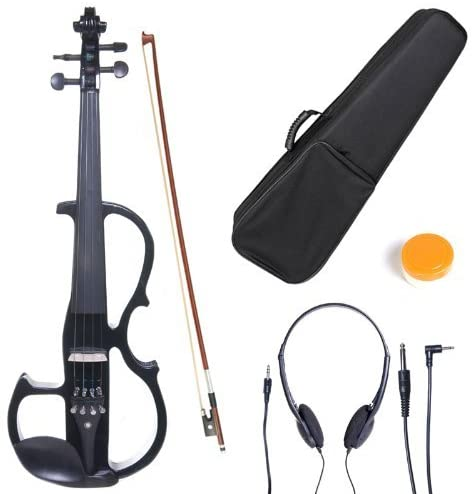 Cecilio CEVN-2BK Style 2 Silent Electric Solid Wood Violin with Ebony Fittings in Metallic Black, Size 4/4 (Full Size)