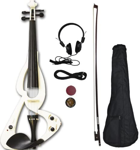 Crescent EV-WT Full Size 4/4 Electric Violin Starter Kit, White (Includes CrescentTM Digital E-Tuner