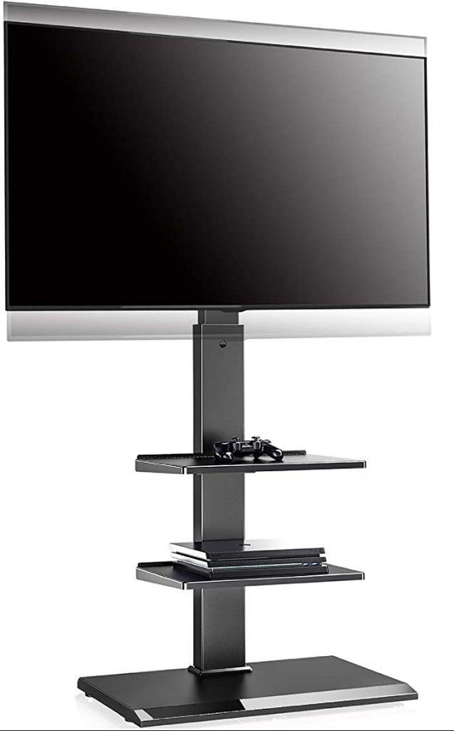 FITUEYES Floor TV Stand with Adjustable Shelf