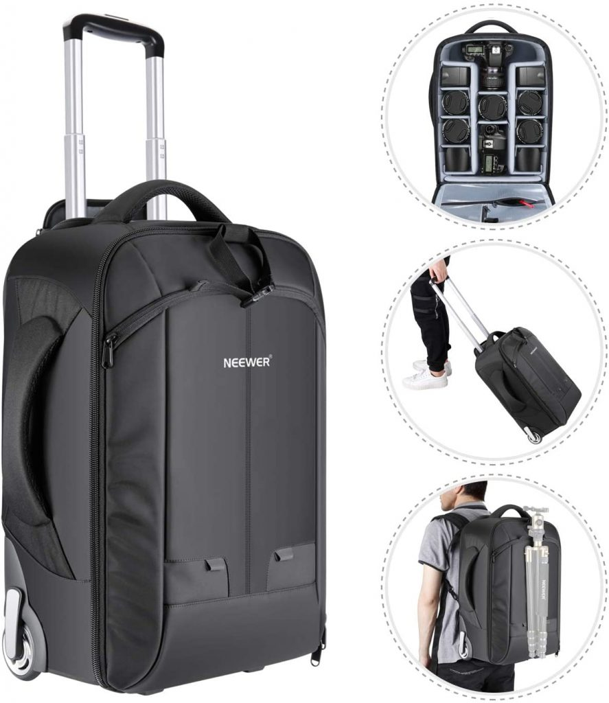 Neewer 2-in-1 Convertible Wheeled Camera Backpack