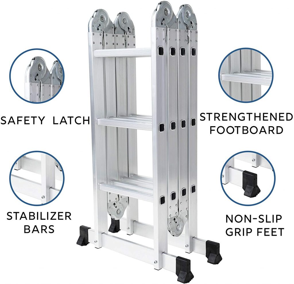 OxGord Aluminum-Multi-Folding-Ladder