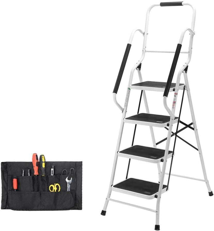Step Ladder, Folding 4-Step Safety Step Ladder